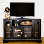 Walker Edison 52 in. Highboy Wood TV Stand with Glass Doors