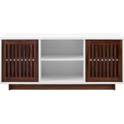 Walker Edison 56 in. TwoTone Modern TV Stand with Slatted Doors