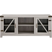 Walker Edison 58 in. Modern Farmhouse Glass Barn Door TV Stand