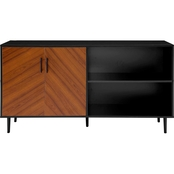 Walker Edison 58 in. Mid Century Modern Bookmatch Wood TV Stand