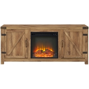 Walker Edison 58 in. Modern Farmhouse Barn Door Fireplace TV Stand