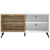 Walker Edison 52 in. Modern TV Stand with Slatted Sliding Door