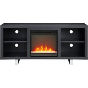 Walker Edison 58 in. Modern Fireplace TV Stand with Glass Doors