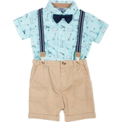 Little Lads Infant Boys 4 pc. Wildlife Suspenders Shorts Set