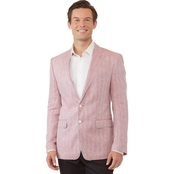 Tallia Orange Men's Slim-Fit Pink Herringbone Linen Sport Coat