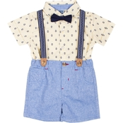 Little Lads Infant Boys Anchor 4 pc. Suspenders Shorts Set