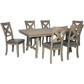 Aldwin 7pc Dining Room Set: Table, 6 Chairs