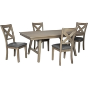 Aldwin 5pc Dining Room Set: Table, 4 Chairs