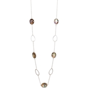 Carol Dauplaise Silvertone Faux Abalone Long Oval Link Station 32 in. Necklace