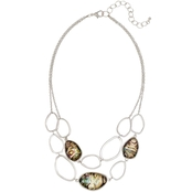 Carol Dauplaise Silvertone Faux Abalone Two Row Oval Link Necklace