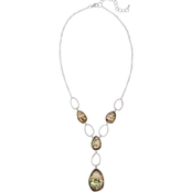Carol Dauplaise Silvertone Faux Abalone Oval Links Y Necklace