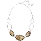Carol Dauplaise Silvertone Faux Abalone Oval Link Collar Necklace