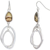 Carol Dauplaise Silvertone Faux Abalone Double Drop Earrings