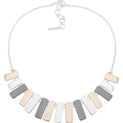 Nine West Tri Tone Frontal Necklace 16 in.