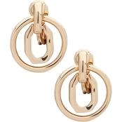 Anne Klein Goldtone Octagon Doorknocker EZ Comfort Clip Earrings