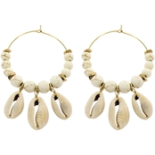 Panacea Puka Shell Howlite Hoop Earrings