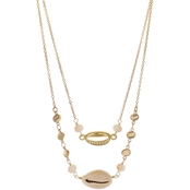 Panacea Shell and Charm Crystal Necklace 15 in.