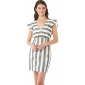 Armani Exchange Full Stripe V Neck Mini Dress