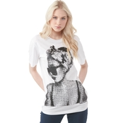 Armani Exchange Crew Neck Tee with Pixelated Image of Woman's Profile