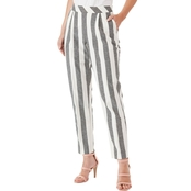Armani Exchange Full Stripe Cotton Linen High Waist Trousers