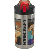 Minecraft Water Bottle with Straw - Creeper