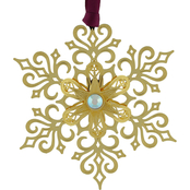 ChemArt Brilliant Gold Snowflake Holiday Designed Ornament