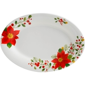 Gibson Home Poinsettia 16 in. Oval Serving Platter