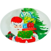 Gibson Home Jolly Santa 16 in. Oval Platter