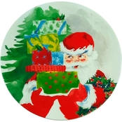 Gibson Home Jolly Santa 7.4 in. Dessert Plate