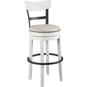 Signature Design by Ashley Valebeck Upholstered Wood Swivel Barstool