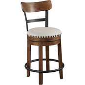 Signature Design by Ashley Valebeck Upholstered Wood Swivel Counter Stool