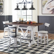 Signature Design by Ashley Valebeck 5 pc. Counter Dining Set with White Stools