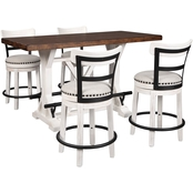 Valebeck 5pc Counter Table Set with 4 White Counter Stools