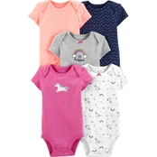 Carter's Infant Girls Unicorn Original Bodysuits 5 pk.