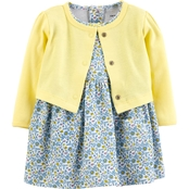 Carter's Infant Girls Floral Dress and Cardigan 2 pc. Set