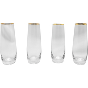 Gibson Home Imagination Gold Rim Stemless Champagne Flutes 9 oz. 4 pc. Set