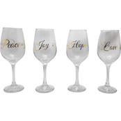Imagination Gold Hope Peace Love Toast Wine Glass