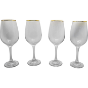 Gibson Home Imagination Gold Rim Wine Glasses 14 oz. 4 pc. Set