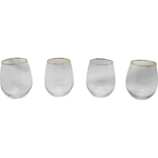 Gibson Home Imagination 4 pc. Gold Rim Stemless Wine Glass Set
