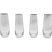Gibson Home Imagination Silver Rim Stemless Champagne Flutes 8 oz. 4 pc. Set