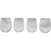 Gibson Home Imagination 4 pc. Silver Rim Stemless Wine Glass Set