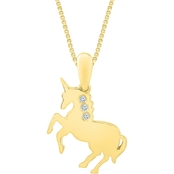 Sterling Silver 14K Yellow Goldtone Diamond Accent Fashion Pendant