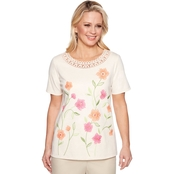 Alfred Dunner Crochet Neck Floral Top