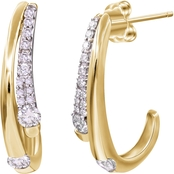 10K Yellow Gold 3/5 CTW Diamond J Hoop Earrings