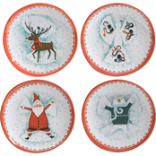 Gibson Home Snow Angel Snack Plates Melamine 4 pc. Set