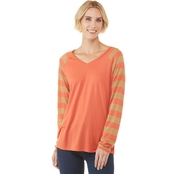 JW Stripe Sleeve V Neck Top