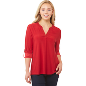 JW Split Neck Roll Sleeve Top