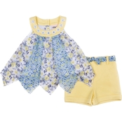 Little Lass Toddler Girls Daisy Chain Top and French Terry Shorts 2 pc. Set