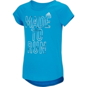adidas Little Girls Raglan Graphic Tee