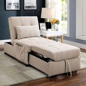 Furniture of America Adjustable Futon with Pillows
